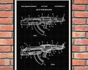 Patent AK-47 Bull Pup Assault Rifle - Art Print - Poster -  Fire Arm - Weapon - Military Weapon - Machine Gun - Wall Art
