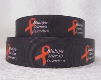 1 inch- Multiple Sclerosis Awareness On Black Background Printed Grosgrain Ribbon for Hair Bow