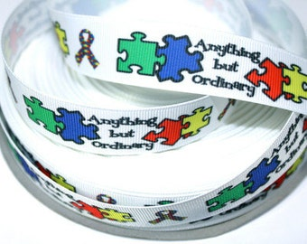 7/8 inch Anything But Ordinary - Autism Awareness OWL Owls - Printed Grosgrain Ribbon for Hair Bow