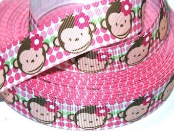 1 inch Monkey Face on Various Pink Polka Dots - Printed Grosgrain Ribbon for Hair Bow