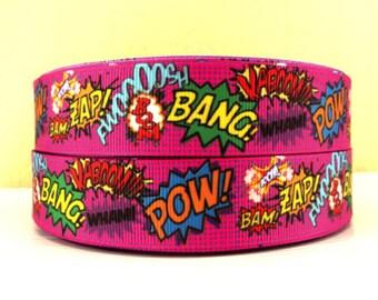1 inch POW, BANG, ZAP On Hot Pink - Super Hero Superhero Printed Grosgrain Ribbon for Hair Bow