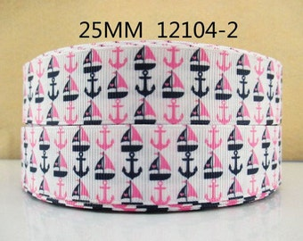 1 inch Sailboats and Anchors on White - PInk and Navy - Style 12104-2 - Nautical - Printed Grosgrain Ribbon for Hair Bow
