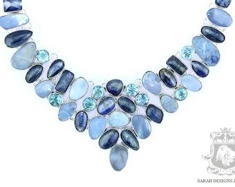 Petite Size !! Australian Opal Doublet Aquamarine KYANITE 925 SOLID Sterling Silver Necklace & FREE Worldwide Shipping N185