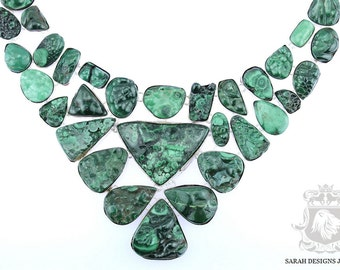 Blast of Green! Large Multi Layered CANADIAN MALACHITE DRUSY 925 Solid Sterling Silver Necklace n307