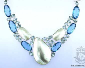 Reduced! BLISTER Biwa Pearl LONDON Blue Topaz AQUAMARINE 925 Solid Sterling Silver Necklace n315