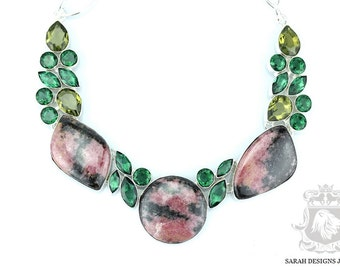 Clearance Sale! RHODONITE EMERALD Quartz PERIDOT 925 Solid Sterling Silver Necklace n342