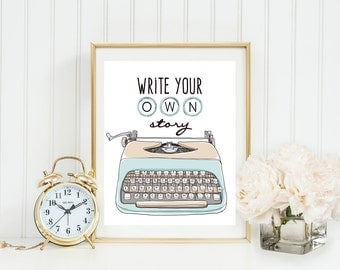 Write Your Own Story Vintage Typewriter Wall Art, Light blue typewriter, Typewriter Keys, Inspirational, Home, Office, Dorm Classroom Art