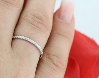 0.43ct Petite FULL Eternity  Micro Pave Diamond Wedding Ring F VS2/SI1 14k White Gold Diamond Anniversary Eternity Band (Platinum Available)