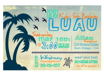 Luau Party Invitation - Printable Luau Birthday Party Invitation