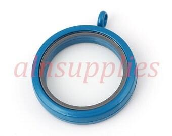 30mm Round Blue Window Locket, Painted Glass Locket Magnetic Closure