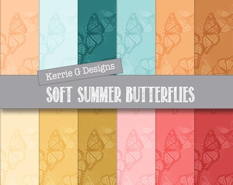 Butterfly Paper Packs Printable scrapbooking paper, Downloadable paper, digital soft colours patterned digital paper pack, printable