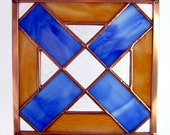 Stained Glass Quilt Square 6 Inch Honey and Blue Hugs and Kisses Copper Frame Appalachian Tradition
