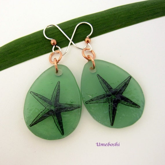 Big Dangly Handmade Fused Glass Starfish Beach Earrings - Sea Foam Green w Black Starfish, Ocean Jewelry w Copper