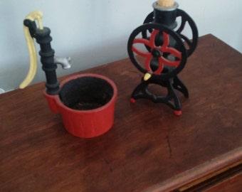Cast Iron Trivets Corn Thresher and Well Pump