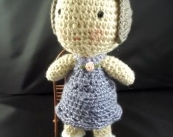 HOLIDAY 2017 SALE!! Dress Me Up Doll - Crocheted Doll - Brown Hair