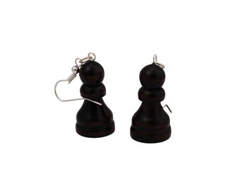 Chess earrings of a recycled board game, chess piece, dangle earrings, retro earrings- in pairs