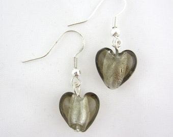 Brown glass heart earrings, heart earrings, brown earrings, brown glass earrings, brown heart earrings - sold in pair