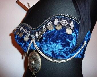 Blue Velvet Tribal Bra Size 75 C