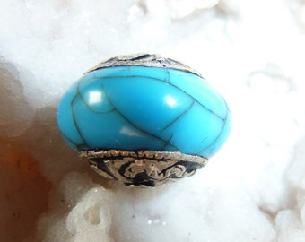 Tibetan Milabead Turquoise, with Silver Ends, Handmade