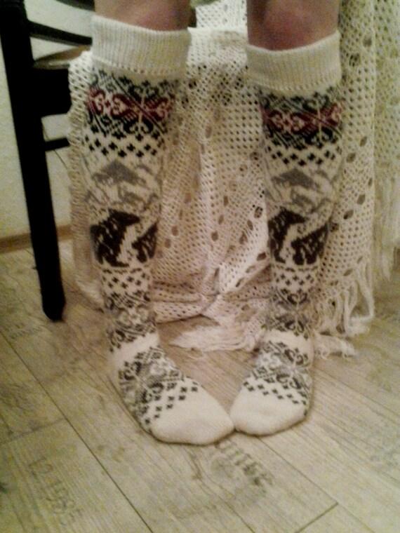 Knitting Pattern For Ladies Long Socks : long knit socks Wool socks. Norwegian socks. Christmas socks