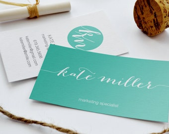 Business Card  - Teal Script | The KATE | Digital Business Card | Branding | Calling Card | Modern