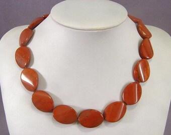 Necklace Red Jasper 25mm Twist Ovals NSJR5698