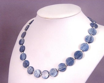 Necklace Kyanite 14mm Coin Chatoyant Beads 925 NSKY5726