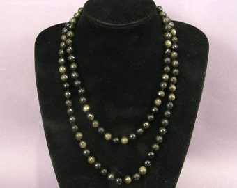 """Necklace Golded Obsidian 45"""" 10mm Facet Round Beads Many Styles NSBG5505"""