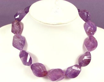Necklace Amethyst 32mm Lantern Facet 925 D NSAT5169
