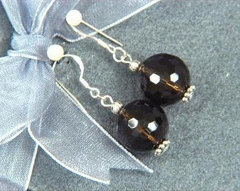 Earrings Smokey Quartz AB 14mm Facet Rounds 925 ESSQ1297