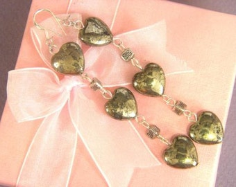 Earrings Pyrite 3X 14mm Heart 925 ESPY1905