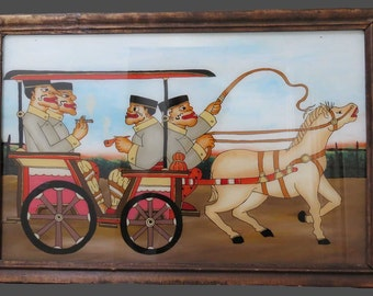 """Vintage Javanese PAINTING (on glass), from JAVA, circa 1990, 21"""" x 14"""" in wood frame (24' x 16"""")"""