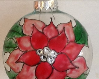 Poinsettia 1, Large Glass Christmas Tree Ornament, pink, red and green, handpainted ornaments,