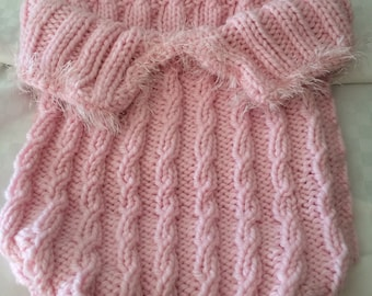 Hand Knit Baby Bunting Bag in Pink New Born