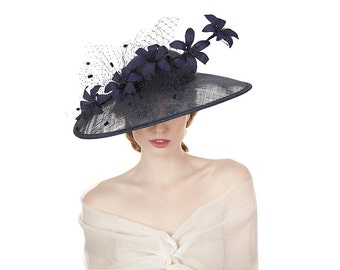 Navy Lily Large Brimmed Hat