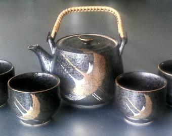 Unique Vintage Asian Crane Tea Set with Four Cups