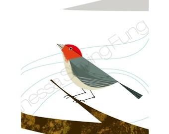 "Snow Mountain Winter Bird art print Scarlet Red Orange Gray wall decor Charles Haper Inspired Elegant Illustration 8.5"" X 11"" Letter size"