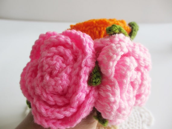 Crochet Hair Ties : Roses Crochet Hair Ties, Elastic hair ties, Flowers hair accessory ...