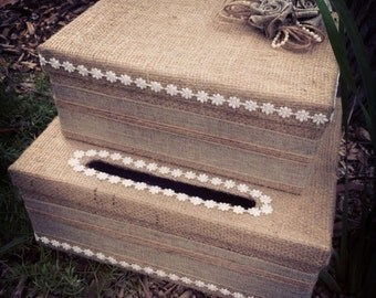 hessian and lace rustic card box for your wedding