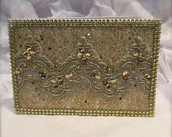 wedding guest book/ gold wedding guest book/ custom wedding book set