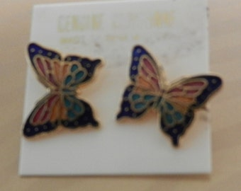 Vintage genuine cloisonne rainbow colored butterfly earrings