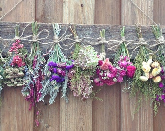 Dried Flower Drying Rack,Dried Flower Rack,Herb Rack,Rack for Dried Flowers,Country Wall Decor,Rustic Wedding Decor,Cottage Decor,Wall Rack