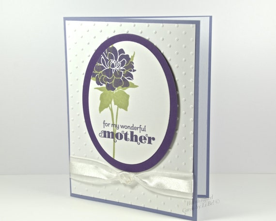 Wonderful Mother Handmade Greeting Card For Mother's Day or Birthday With Purple Flower Hand Stamped