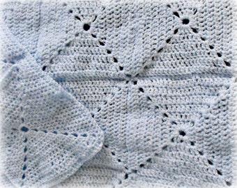 Baby Blue Crocheted Baby Blanket