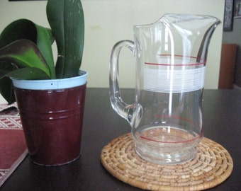 Mid Century style Red & White Striped Glass Pitcher with Ice Lip