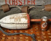 Beach Decor Vintage Maine Lobster Buoy Red and White  By Ship Breakers Nautical