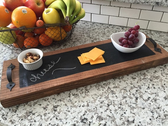 Cheese board, Walnut colored cheese board with bronze handles and chalkboard