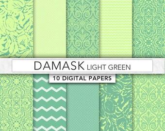 Green digital Paper,Green Damask paper, green paper,damask patterns,instant download - Dam006