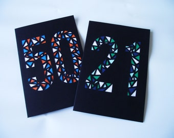 A6 Hand-Cut Number Greetings Card