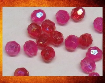 BIG SALE Beads, Acrylic - Hot Pink and Red Iridescent 6mm Faceted Round. Over 300 beads for jewelry-making and crafts.  #BEAD-172